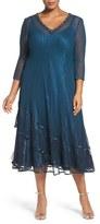 Komarov Embellished Chiffon & Lace Dress (Plus Size)