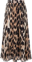 Thumbnail for your product : Ganni Pleated Leopard Print Midi Skirt