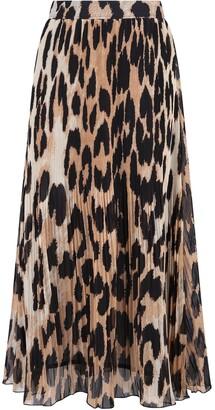 Ganni Pleated Leopard Print Midi Skirt