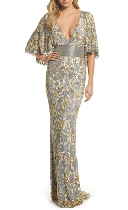 Mac Duggal Sequin & Bead Embellished Gown
