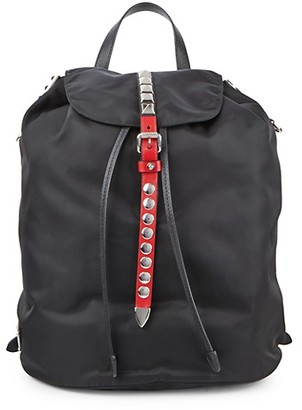 Prada Studded Leather-Trim Flap Backpack
