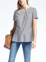 Banana Republic Navy Short-Sleeve Peplum Crew Neck Top