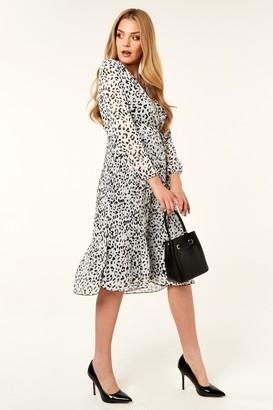 Gini London Cream Animal Print Wrap long sleeve Pleated dress
