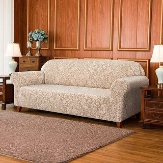 Overstock Subrtex 1-Piece Sofa Couch Slipcover Stretch Jacquard Damask Cover