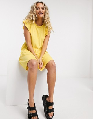 Vila tiered smock dress in yellow