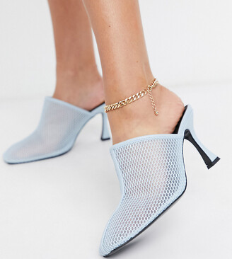 ASOS DESIGN Wide Fit Sian mesh mid heeled mules in blue