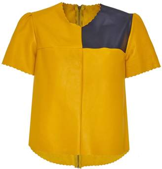 Manley Boxter Leather Tee Yellow & Navy