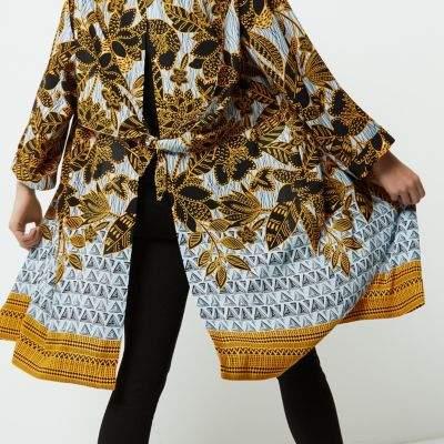 River Island Womens Petite yellow floral print duster coat