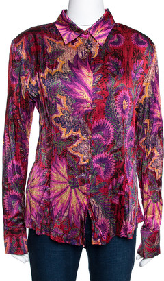 Roberto Cavalli Magenta Abstract Foil Printed Plisse Silk Shirt L