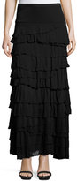 Chelsea & Theodore Pull-On Tiered Maxi Skirt, Black