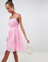 Asos Design DESIGN square neck mini lace prom dress