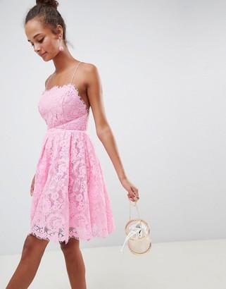 ASOS DESIGN square neck mini lace prom dress