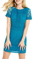 Oasis Isla Lace Shorter Shift Dress, Turquoise