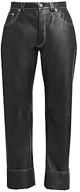 Loewe Women's Wide-Leg Leather Trousers