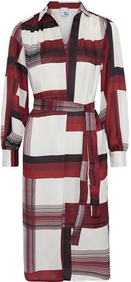 Iris & Ink Karalie Belted Printed Satin-twill Shirt Dress