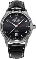 Alpina Al-525b4e6 Alpiner Automatic Leather Strap Watch, Black