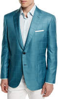 Brioni Check Two-Button Wool Jacket, Aqua/Green