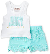 juicy couture (Toddler Girls) Two-Piece Embroidered Tank & Lace Shorts Set