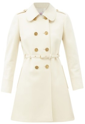 RED Valentino Belted Double-breasted Wool-blend Coat - Ivory