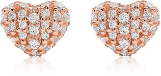 Michael Kors Heart 14K Rose Gold Plated Sterling Silver Pave Studs