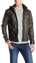 X-Ray Men's Slim Fit Faux-Leather Moto Jacket with Removable Hood