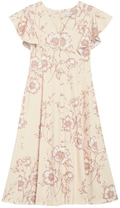 Calvin Klein Floral Flutter Sleeve A-Line Dress