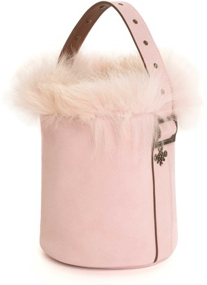 Mr & Mrs Italy Suede Leather Frost Fox Fur Bucket Bag