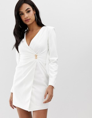 Club L London Club L crepe wrap front button detail dress