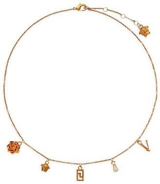 Versace Tribute Goldtone & Swarovski Crystal Micro Charm Collar Necklace