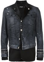 DSQUARED2 mixed material denim jacket - men - Silk/Cotton/Polyester/Virgin Wool - 50