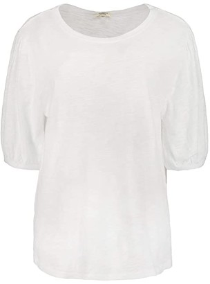 True Grit Dylan by Soft Slub Cotton Puff Sleeve Tee (White) Women's Clothing