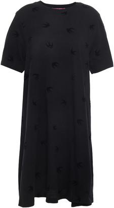 McQ Flocked Cotton-jersey Mini Dress