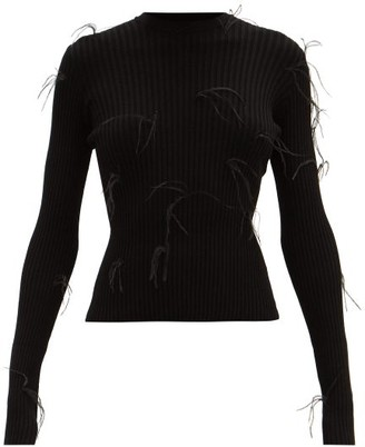 Marques Almeida Feather-embellished Ribbed-knit Sweater - Black