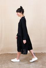 Busby & Fox - Harlem Tiered Dress - small | black - Black/Black