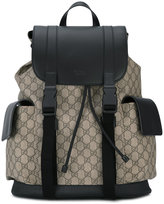 Gucci logo print backpack - men - Leather/Canvas/Microfibre - One Size