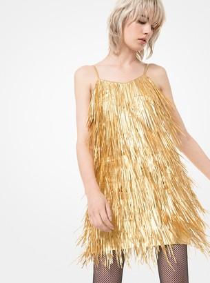 Michael Kors Collection Metallic Plonge Leather Fringed Mini Dress