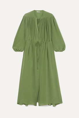 Three Graces London Julienne Gathered Silk Crepe De Chine Maxi Dress - Green