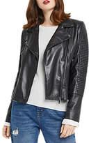 Oasis Hollie Leather Biker Jacket, Black