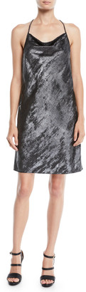 Halston Drape-Back Metallic Georgette Slip Dress
