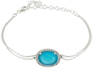 Latelita Beatrice Oval Gemstone Bracelet Silver Dark Blue Chalcedony