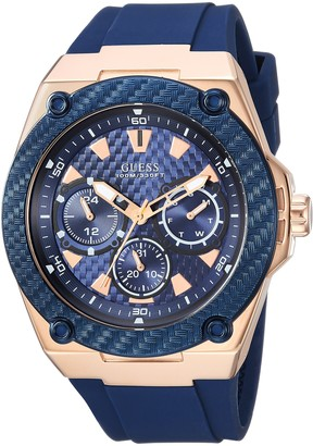 GUESS Comfortable Iconic Blue Stain Resistant Watch with Rose Gold-Tone Day