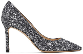Jimmy Choo SSENSE Exclusive Gunmetal Star Coarse Glitter Romy 85 Heels