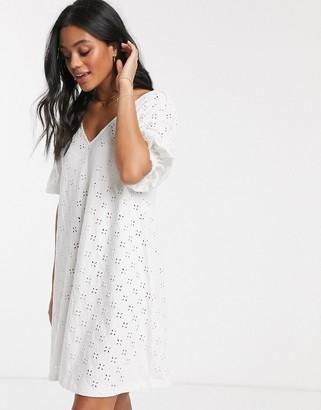 ASOS DESIGN broderie puff sleeve v front mini swing dress in white
