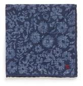 Isaia Floral leaf print virgin wool blend pocket square