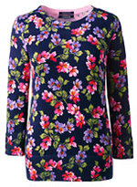 Lands' End Women's Tall Supima Cotton 3/4 Sleeve Print Sweater-Deep Sea Floral