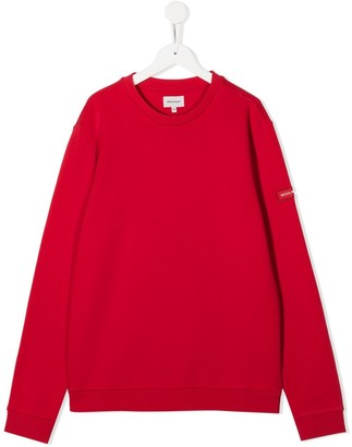 Woolrich Kids TEEN logo patch crew neck sweatshirt