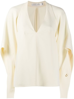 Victoria Beckham draped-sleeve deep-V blouse