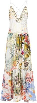 Camilla Lady Labyrinth Embellished Printed Silk-jacquard Maxi Dress