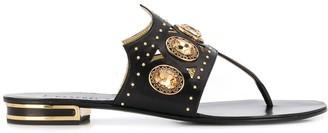Casadei Thong Strap Embellished Sandals