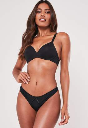 Missguided Black Soft Bra And Thong Set